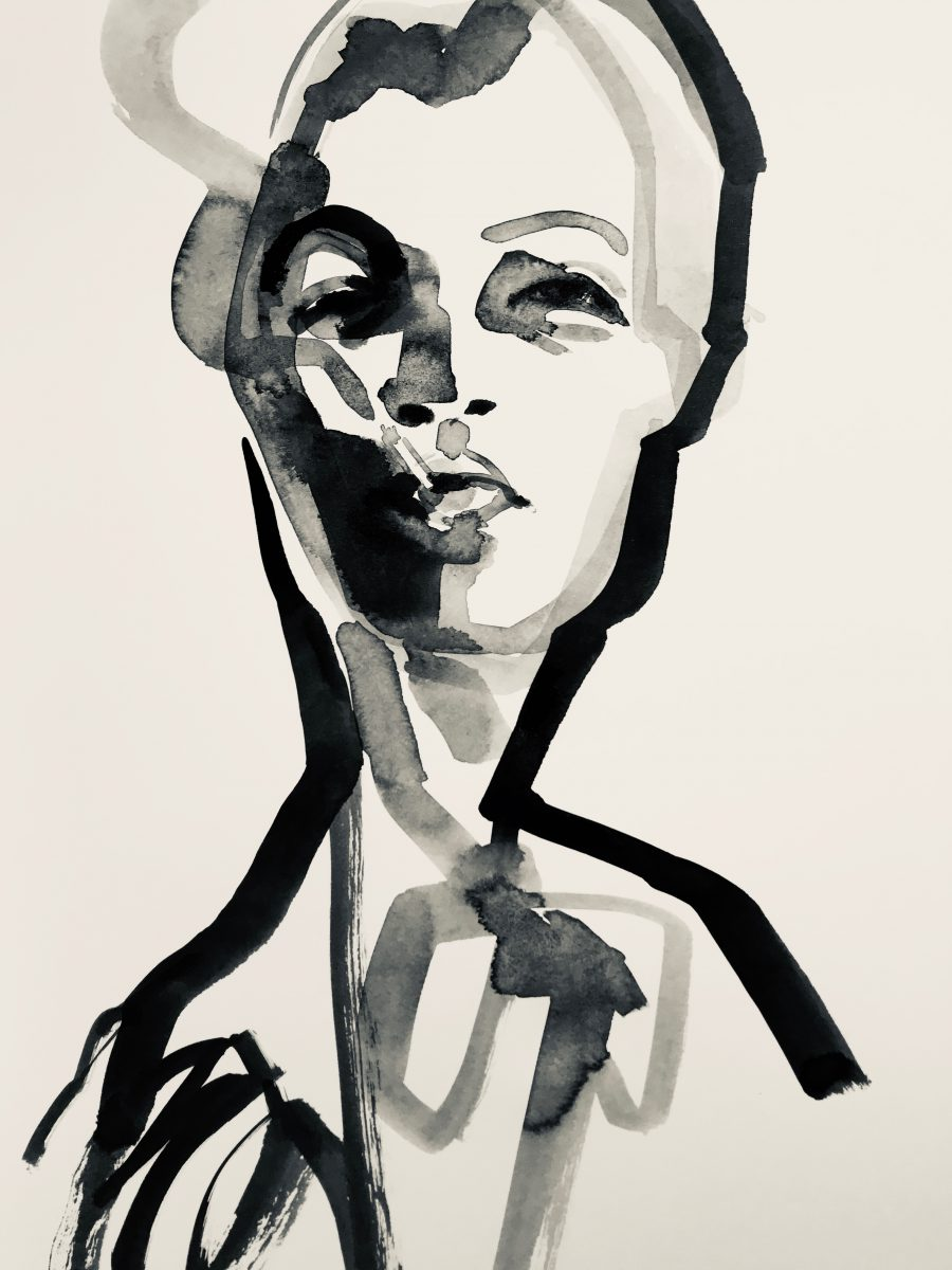 Drawing LG_KF206_30x42_ROMY 2018,Ink on Paper Romy Schneider smoking